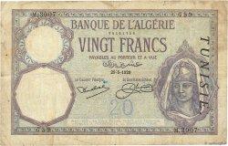 20 Francs type 1912 TUNISIE  1929 P.06b TB