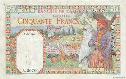 50 Francs filigrane tête TUNISIE  1945 P.12a TTB
