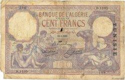 100 Francs type 1920 TUNISIE  1933 P.10b B