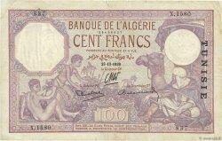 100 Francs TUNISIE  1938 P.10c TB+