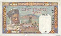 100 Francs type 1938 filigrane tête TUNISIE  1941 P.13a TTB+