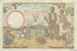 1000 Francs type 1940 filigrane tête TUNISIE  1942 P.20a pr.SUP