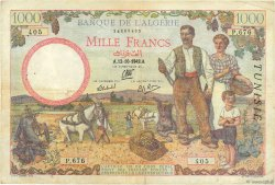 1000 Francs type 1940 filigrane lettres TUNISIE  1942 P.20b TTB