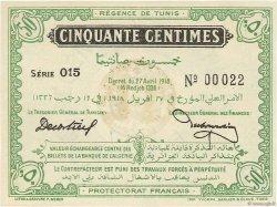 50 Centimes TUNISIE  1918 P.35 NEUF