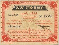 1 Franc TUNISIE  1918 P.43 TTB+