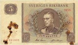5 Kronor SUÈDE  1955 P.42b TB