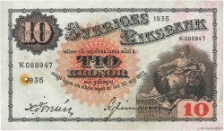 10 Kronor SUÈDE  1935 P.34r pr.SUP