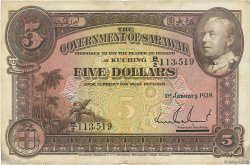 5 Dollars SARAWAK  1938 P.21 TTB