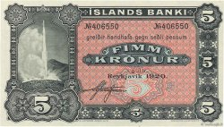 5 Kronur ISLANDE  1920 P.15r SPL