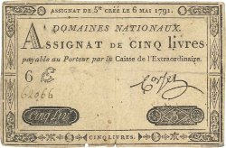 5 Livres FRANCE  1791 Ass.12a TB