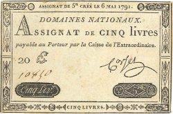 5 Livres FRANCE  1791 Ass.12a TTB