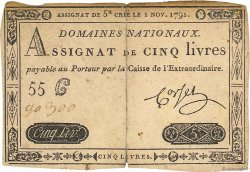 5 Livres FRANCE  1791 Ass.20a TB