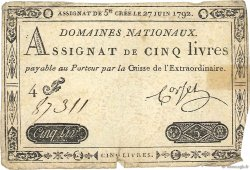 5 Livres FRANCE  1792 Ass.30a TB