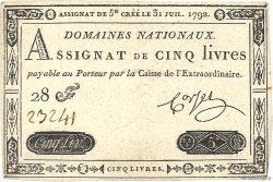 5 Livres FRANCE  1792 Ass.31a SUP