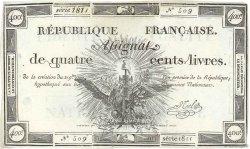 400 Livres FRANCE  1792 Ass.38a pr.SUP