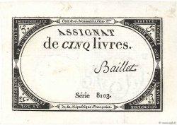 5 Livres FRANCE  1793 Ass.46a SPL