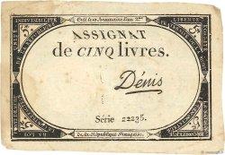 5 Livres FRANCE  1793 Ass.46a TTB