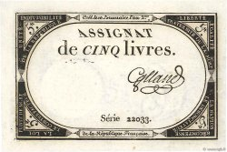 5 Livres FRANCE  1793 Ass.46a SUP