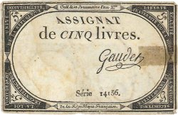 5 Livres FRANCE  1793 Ass.46a TB+