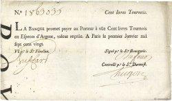 100 Livres Tournois FRANCE  1720 Dor.26 TB à TTB