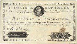 50 Livres FRANCE  1791 Ass.13a TTB+