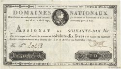 70 Livres FRANCE  1790 Ass.06a TTB