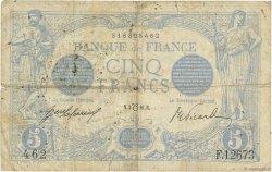 5 Francs BLEU lion inversé FRANCE  1916 F.02bis.04 B+