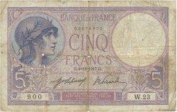 5 Francs VIOLET FRANCE  1917 F.03.01 B