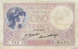 5 Francs VIOLET FRANCE  1927 F.03.11 TB+