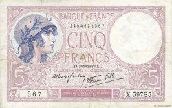 5 Francs VIOLET modifié FRANCE  1939 F.04.04 TTB