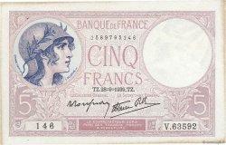 5 Francs VIOLET modifié FRANCE  1939 F.04.10 TTB+