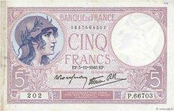 5 Francs VIOLET modifié FRANCE  1940 F.04.16 TTB+