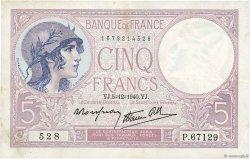5 Francs VIOLET modifié FRANCE  1940 F.04.16 TTB