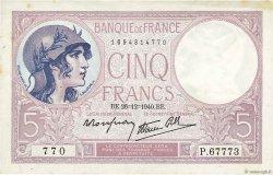 5 Francs VIOLET modifié FRANCE  1940 F.04.18 TTB+