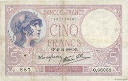 5 Francs VIOLET modifié FRANCE  1940 F.04.18 TB