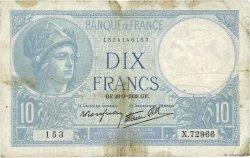 10 Francs MINERVE modifié FRANCE  1939 F.07.09 B+