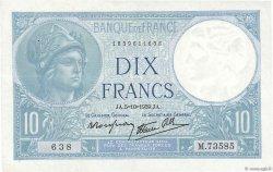 10 Francs MINERVE modifié FRANCE  1939 F.07.10 pr.SUP