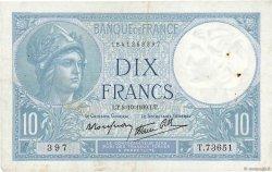 10 Francs MINERVE modifié FRANCE  1939 F.07.10 pr.TTB