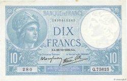 10 Francs MINERVE modifié FRANCE  1939 F.07.13 TTB+