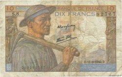 10 Francs MINEUR FRANCE  1942 F.08.03 B
