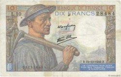 10 Francs MINEUR FRANCE  1942 F.08.04 TB