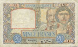 20 Francs SCIENCE ET TRAVAIL FRANCE  1940 F.12.02 TB