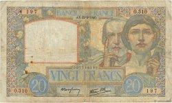 20 Francs SCIENCE ET TRAVAIL FRANCE  1940 F.12.02 B
