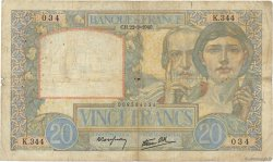 20 Francs SCIENCE ET TRAVAIL FRANCE  1940 F.12.02 B