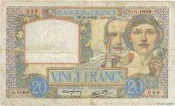 20 Francs SCIENCE ET TRAVAIL FRANCE  1940 F.12.07 TB