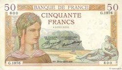 50 Francs CÉRÈS FRANCE  1935 F.17.11 TTB