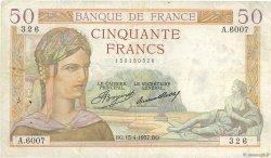 50 Francs CÉRÈS FRANCE  1937 F.17.37 TB+