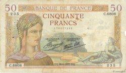 50 Francs CÉRÈS modifié FRANCE  1937 F.18.02 B