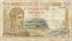 50 Francs CÉRÈS modifié FRANCE  1937 F.18.06 B