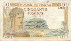 50 Francs CÉRÈS modifié FRANCE  1938 F.18.09 pr.TB